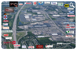 Aerial View of Springdale Businesses